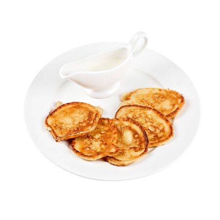 tasty thick pancake with sauce on white Stock Photo - 6782223