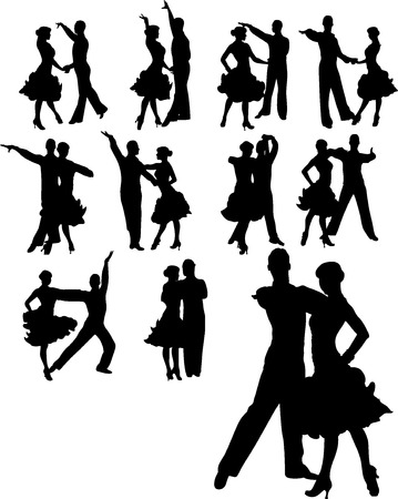 sexy young couple: illustration of couple dancing set