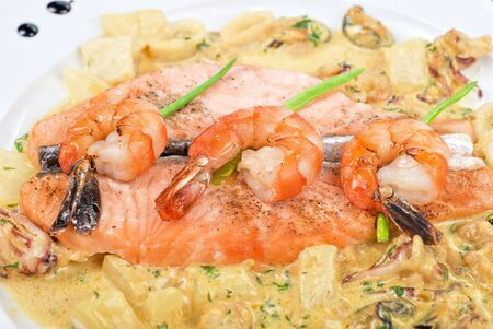 Salmon fish and seafood tasty gourmet dish closeup photo