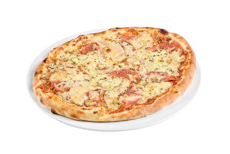 Pizza with mushrooms, ham isolated on white background photo
