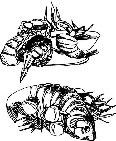 Black vector illustration of seafood, fishes and sushi Vector