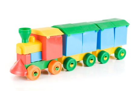 plastic toys: Colorful train toy isolated on white background