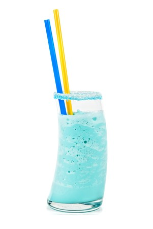 blue cocktail with ice-cream, coconut syrup,cream, orange and cherry juice photo