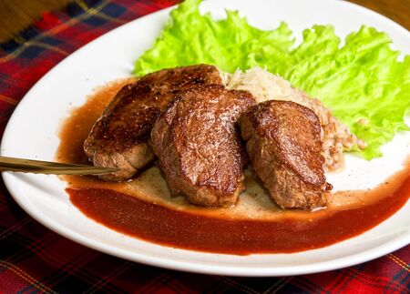 Roast maral meat with blood and garnish pearl barley - very tasty dish Stock Photo - 6963126