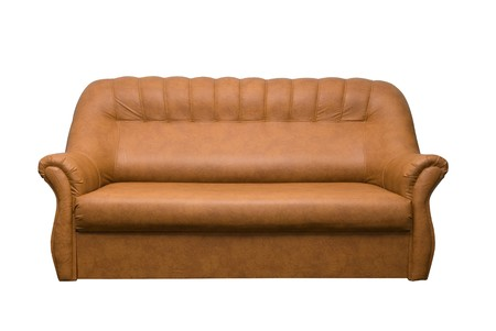 Brown leather sofa isolated on a white background photo
