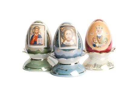paschal: paschal eggs with saint icons isolated on a white
