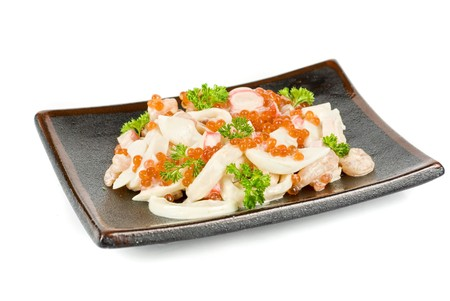 crabmeat: Seafood salad ar plated isolated on a white background