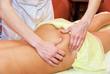 beauty therapist: Closeup of woman hand with professional massage Stock Photo