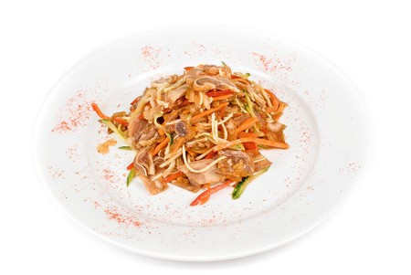 Salad with pig ear with celery, carrot, pepper, cucumber and garlic photo