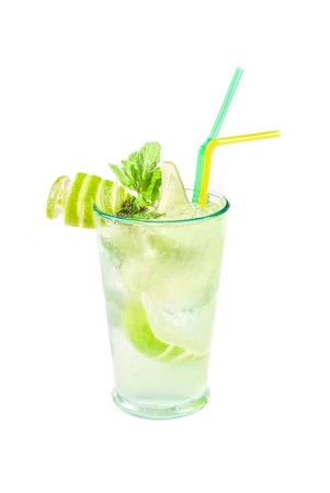 classic mojito alcohol fresh cocktail closeup isolated on a white photo
