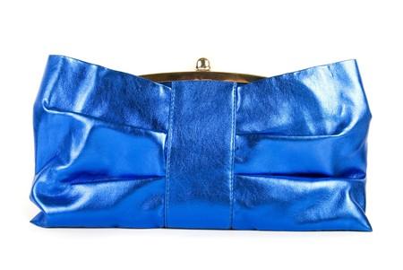 Lady blue handbag klatch isolated on a white photo