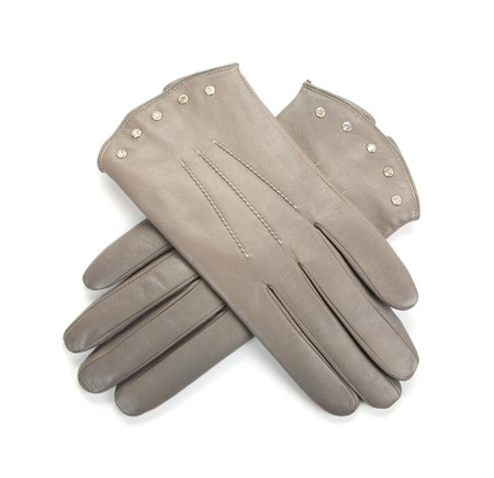 Grey modern female leather gloves isolated on a white Stock Photo - 7023453