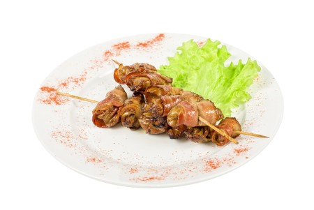 Kebab from chicken liver wrapped with bacon and garlic sauce Stock Photo - 7023459