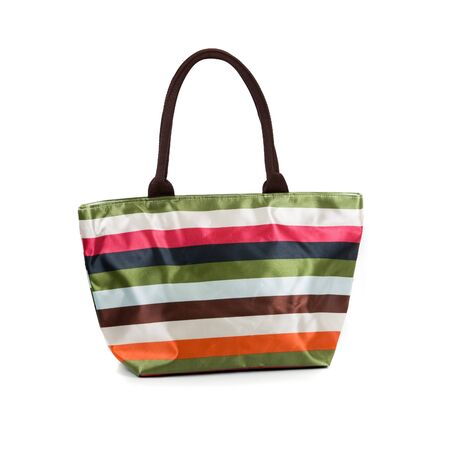 Striped beach women bag isolated on white background photo