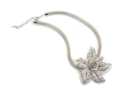 pendant: Flower shaped pendent with a silver chain Stock Photo