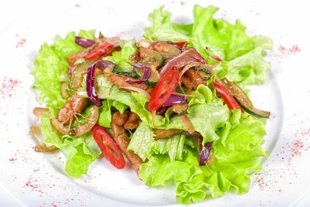 Salad of pork, courgette, lime with hazelnut and lettuce Stock Photo - 7023576