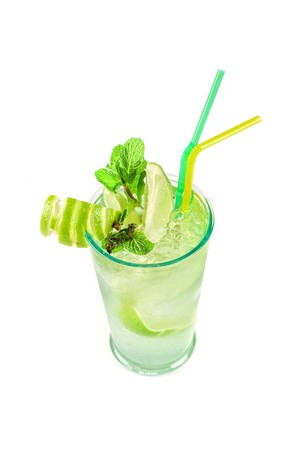 classic mojito alcohol fresh cocktail isolated on a white photo