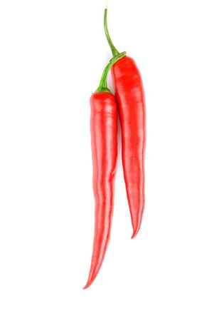 spicy red chilli peppers on white background Stock Photo - 7096779