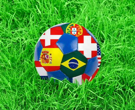 World cup football with nations flags isolated on a white photo