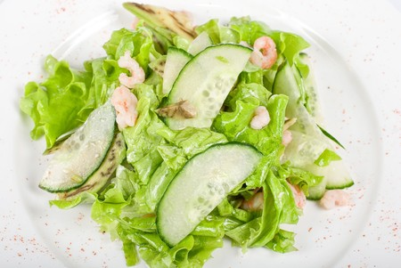 shrimp salad with cucumber and avocado Stock Photo - 7104044