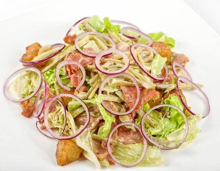 Onion salad of meat with roast vegetables photo