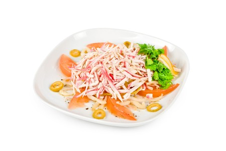 japanese cookery: salad of crab meat closeup
