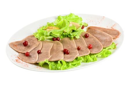 Beef tongue with cranberry isolated on a white background Stock Photo - 7185753