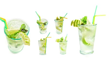 Fresh mojito cocktail set isolated on a white bacground photo