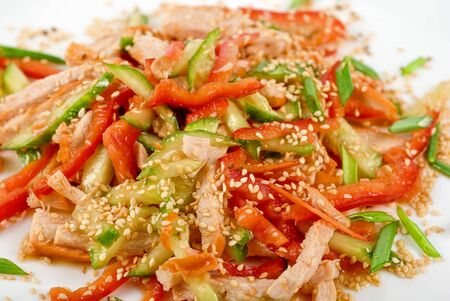 Chinese salad with spicy meat and vegetable photo