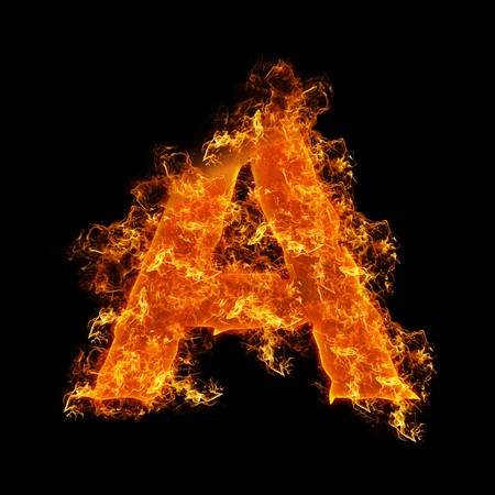 Fire letter A on a black background photo