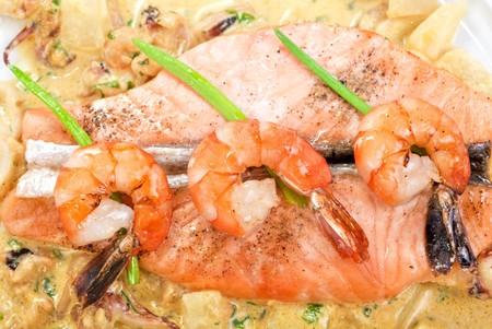 Salmon fish and seafood tasty gourmet dish closeup Stock Photo - 7208470