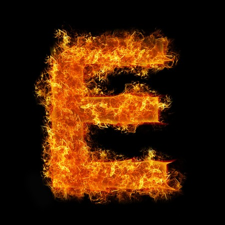 engulfed: Fire letter E on a black background