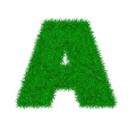 green grass letter font isolated o white background
