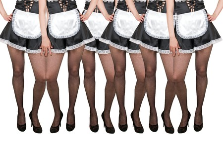 Many legs of housemaids isolated on a white
