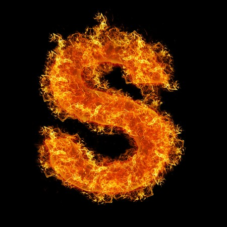 tongues of fire: Fire letter S on a black background