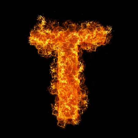 Fire letter T on a black background