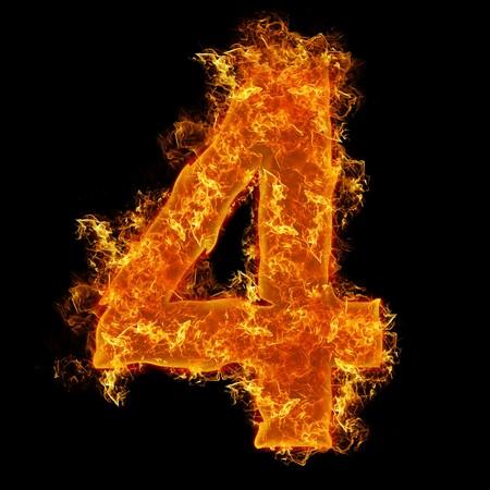 num�rico: Fuego n�mero 4 sobre un fondo negro  Foto de archivo