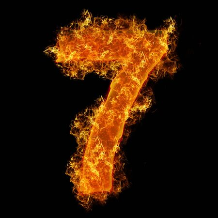 Fire number 7 on a black background photo