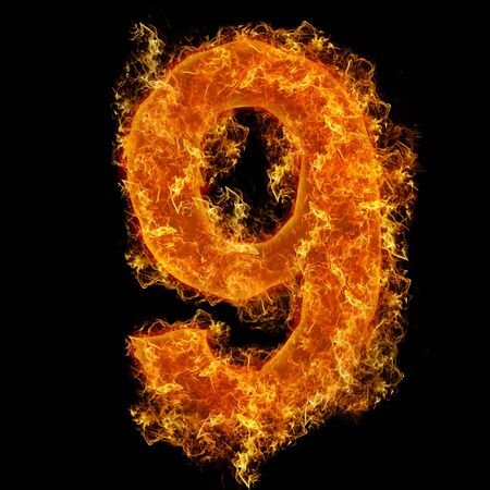 num: Fire number 9 on a black background