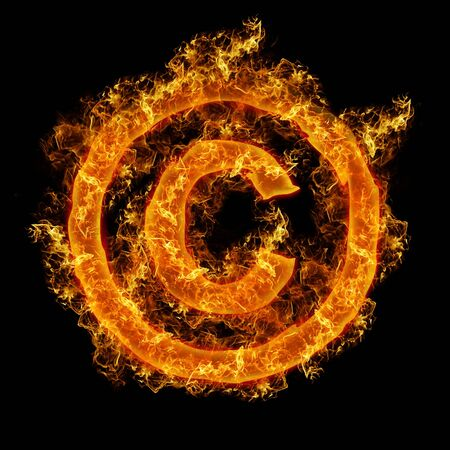 num: Fire sign Copyright on a black background