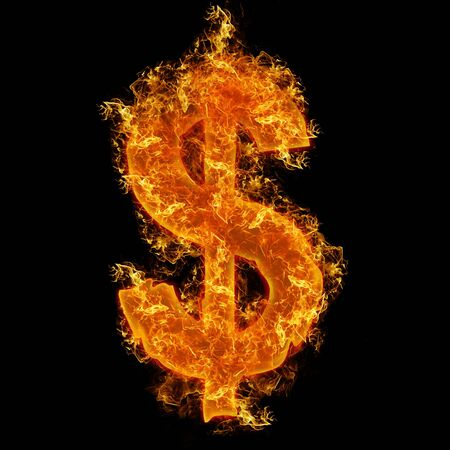 Fire dollar sign on a black background photo