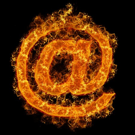 Fire sign mail on a black background photo