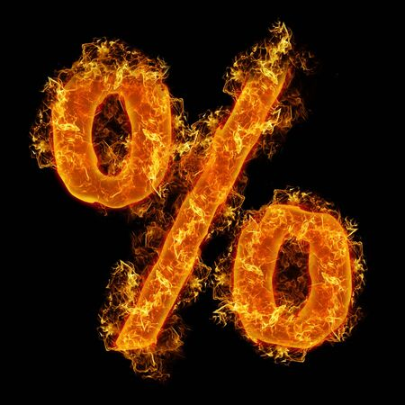 num: Fire sign Percent on a black background Stock Photo