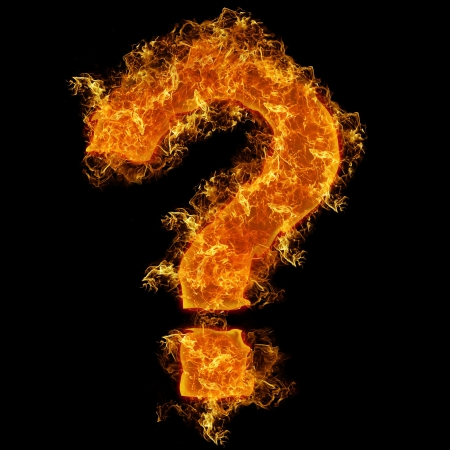 fire font: Fire sign query mark on a black background Stock Photo