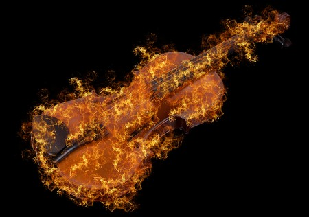 classic violin at fire isolated on a black background photo