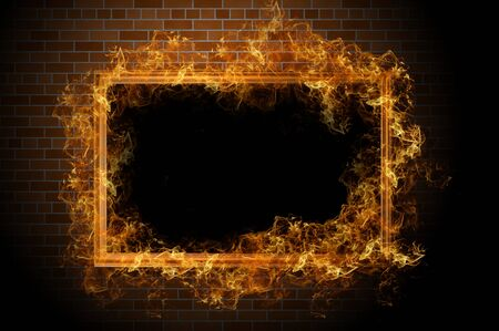 Empty frame with fire on the brick wall photo