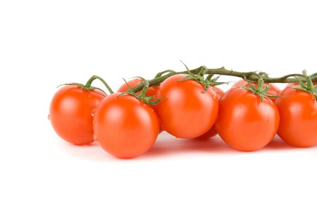 cherry ripe tomatoes isolated on a white background photo