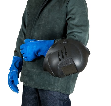 male welder closeup with welding equipment on a white photo