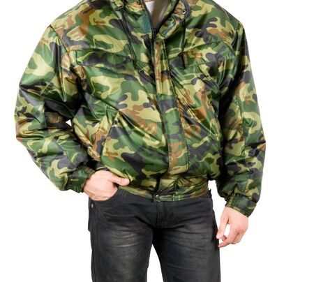 camouflage man closeup isolated on a white photo
