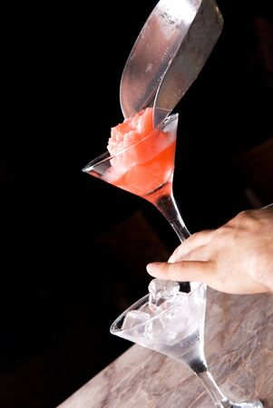 preparation of frozen cocktail on the wooden bar Stock Photo - 7434128